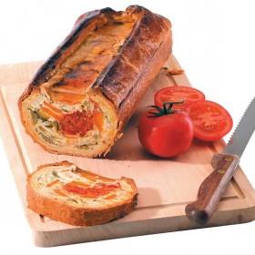 Mosaïque légumes et tomates cuisinés en croûte